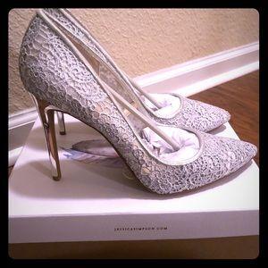 Jessica Simpson Crochet Sheer Silver Stilettos